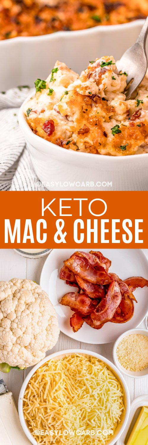 keto mac and cheese and ingredients with text
