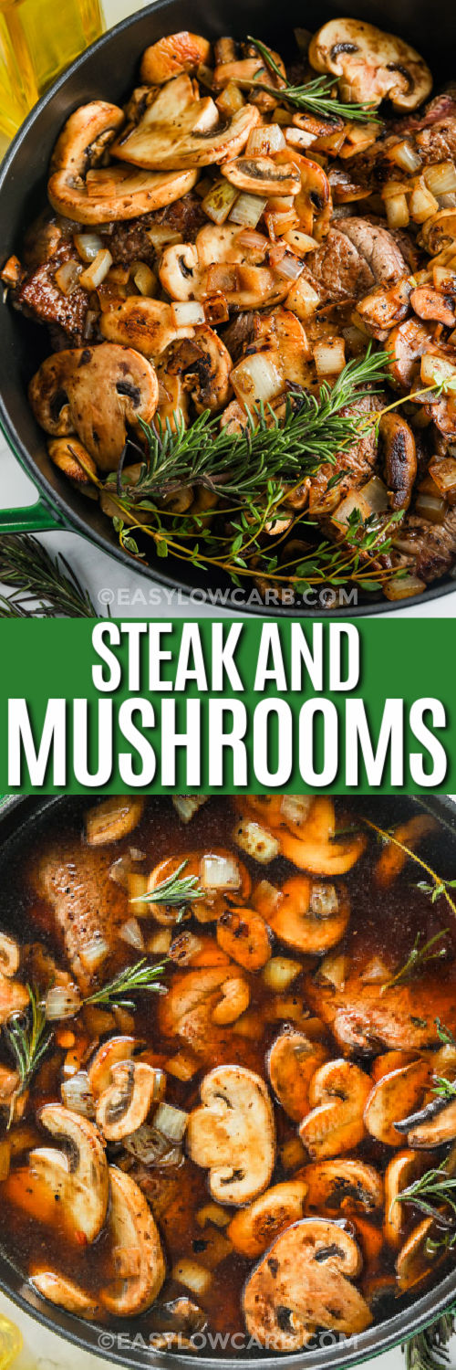 Braised Steak and Mushrooms cooking and finished in the pan with a title