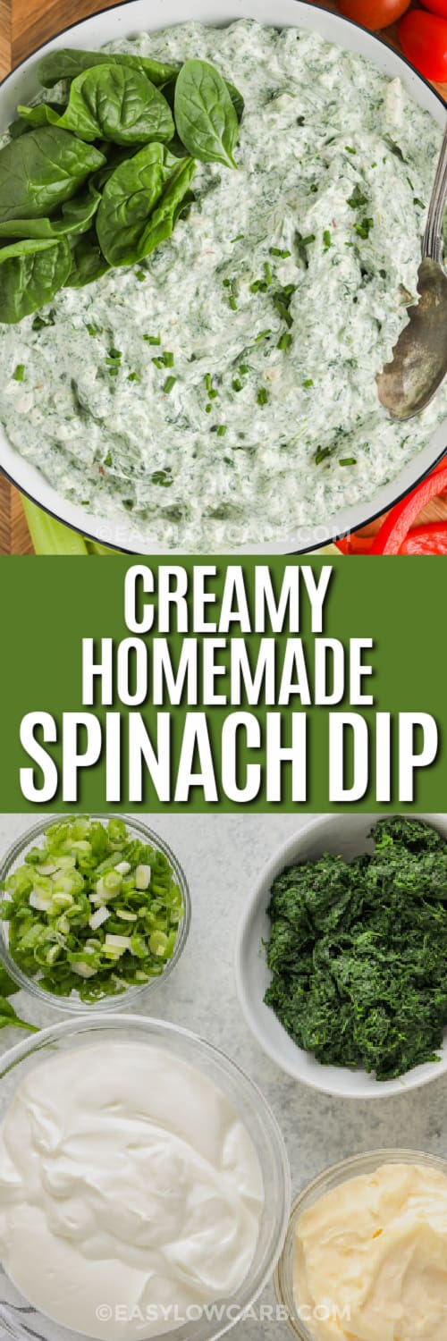 Top image - homemade spinach dip. Bottom image - spinach dip ingredients with text.