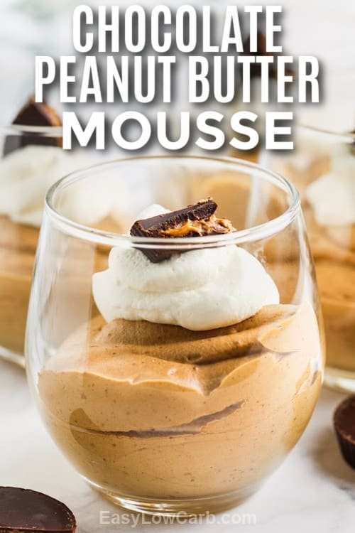 Chocolate Peanut Butter Mousse in a serving jar with a title
