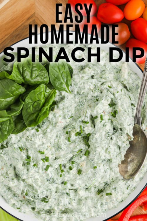 Homemade Spinach Dip in a bowl with text