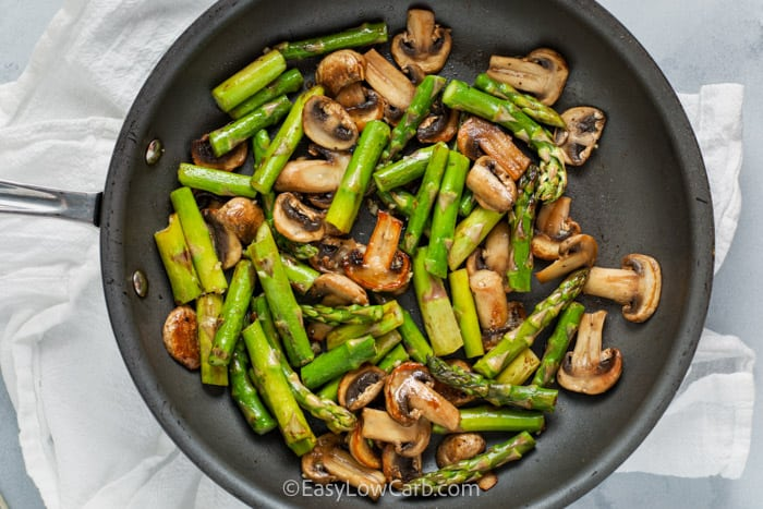 top view of Sautéed Asparagus and Mushrooms in the pan