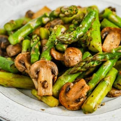 plated Sautéed Asparagus and Mushrooms