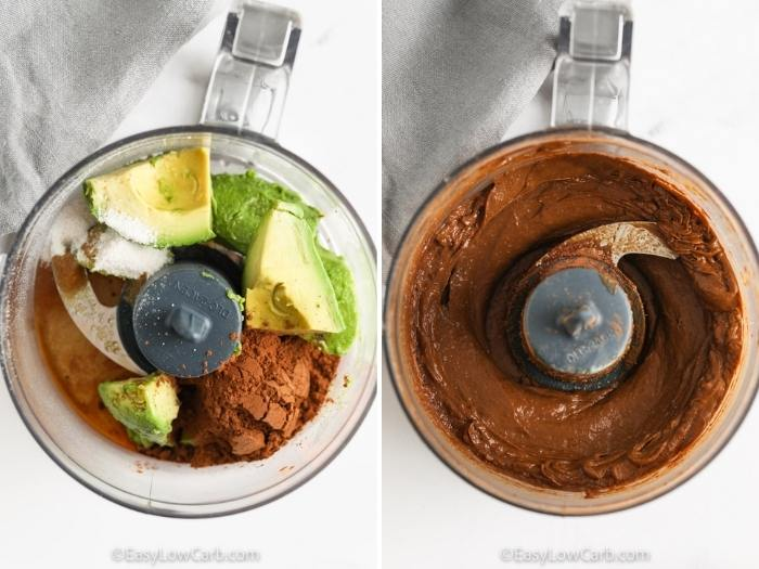 process of blending Avocado Chocolate Mousse