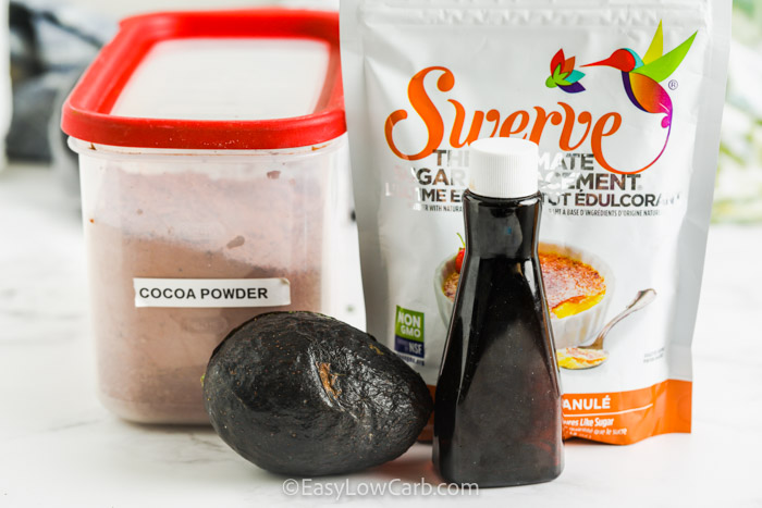 ingredients to make Avocado Chocolate Mousse