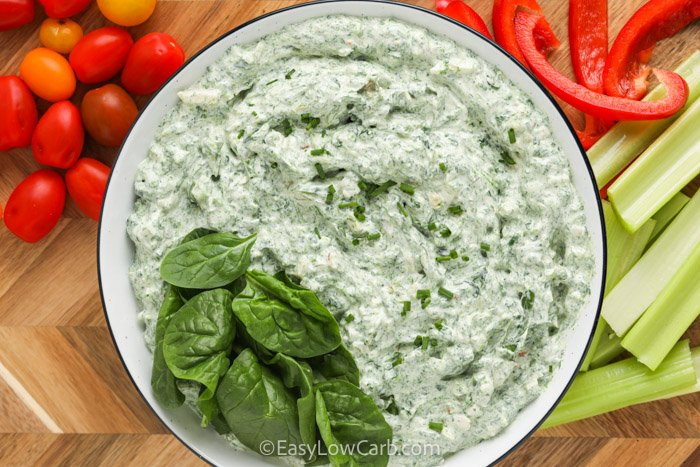 top view of Easy Spinach Dip in a bowl