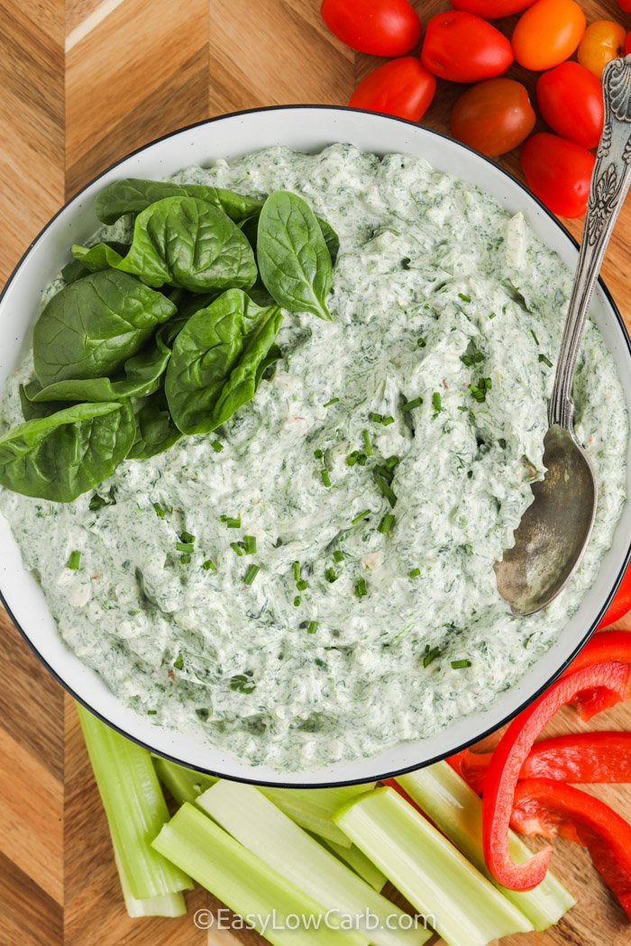 plated Easy Spinach Dip with vegetables